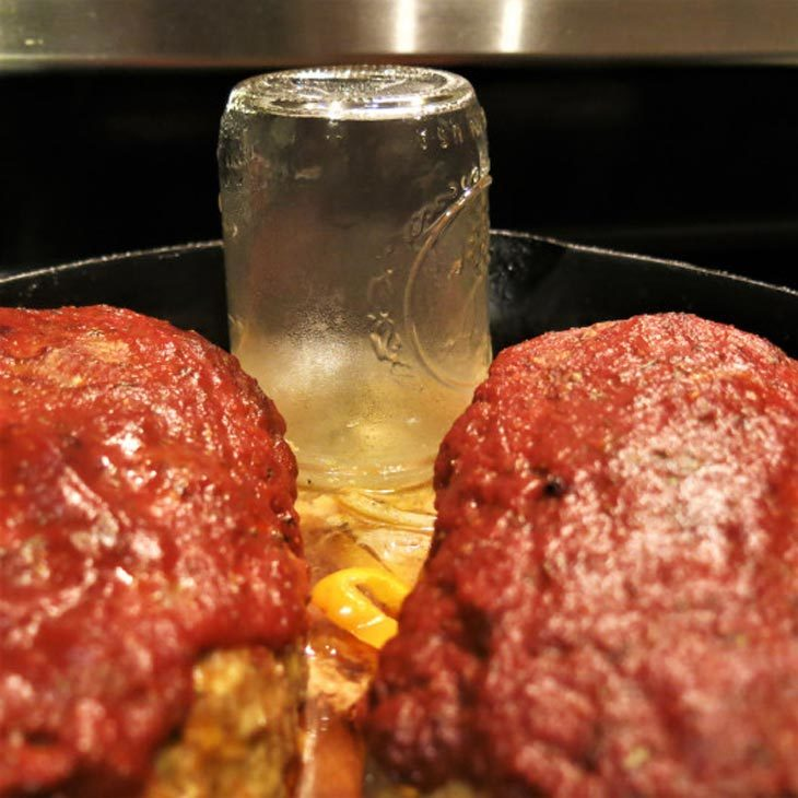 Push The Jar With Onion-pepper Mixture Into The Skillet