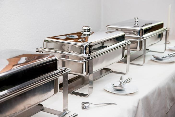 Utilize a chafing dish